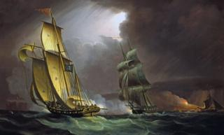 A smuggling lugger chased by a naval brig, by Thomas Butterworth. National Maritime Museum, London