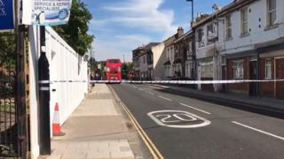 Police tape blocking off Whitton Road