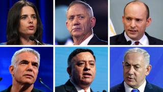 Clockwise from left to right: Ayelet Shaked, Benny Gantz, Naftali Bennett, Benjamin Netanyahu, Avi Gabbay, Yair Lapid