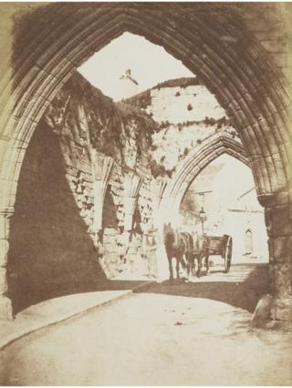 The Pends Argyle Gate, St Andrews with a man and horse-drawn cart