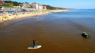 Discoloured water off Bournemouth beach