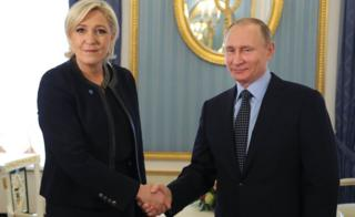 Russian President Vladimir Putin meets French presidential election candidate for the far-right Front National (FN) party Marine Le Pen