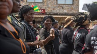 Some women wey protest for Togo.