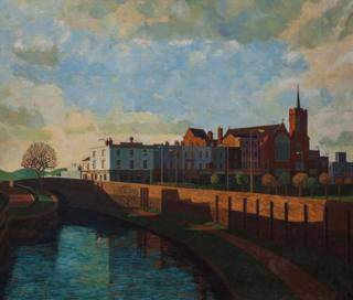 A painting of a park with a river, a bridge and a church in East London by Doreen Fletcher
