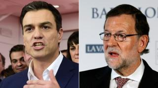 Socialist leader Pedro Sanchez (L) and Spanish acting Prime Minister Mariano Rajoy