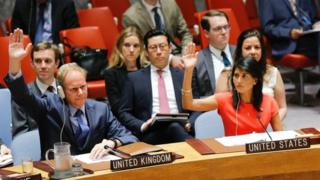 US Ambassador to the United Nations Nikki Haley (R) and Britain's Ambassador Matthew Rycroft vote on a US-drafted resolution toughening sanctions on North Korea, at the United Nations Headquarters in New York, on 5 August 2017.
