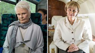 Tracey Ullman as Dame Judi Dench (left) and Angela Merkel (right)