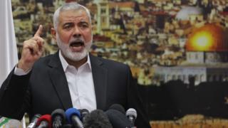 Ismail Haniya delivers a speech on Jerusalem in Gaza City on 7 December 2017