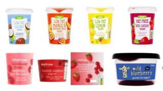 A selection of yogurts