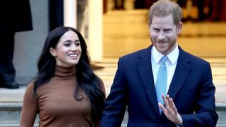 Prince Harry, Duke of Sussex and Meghan, Duchess of Sussex depart Canada House on January 07, 2020 in London, England