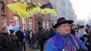 Mourners in Gdansk