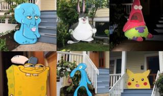 Various cut-outs by Mike Bennet, ranging from Spongebob Squarepants to Bugs Bunny