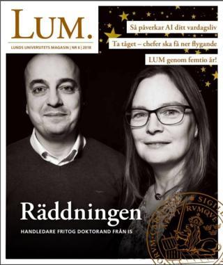 ภาพ ศ.เทอร์เนอร์ และนายจูมาห์ บนปกนิตยสาร LUM ของมหาวิทยาลัยลุนด์