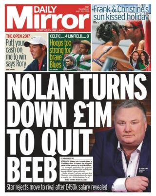 The front page of Thursday's Daily Mirror