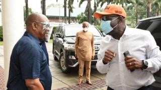 Edo Election: Godwin Obaseki of APC go visit Nyesom Wike of PDP