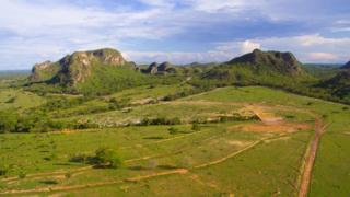 Parte das montanhas de Araguainha, na área central da cratera