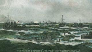Postcard depicting the capture of the U-8 off Dover
