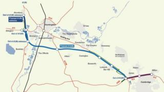 Map of new A14 and local road, Cambridgeshire