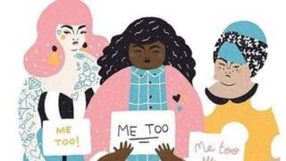 "Illustration of three women holding signs which read ""Me Too"""
