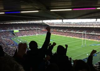 Crowd at Murrayfield for Six Nations match between Scotland and Wales