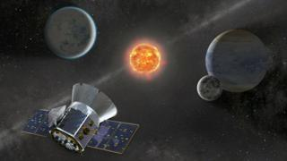 Ilustração do satélite Tess em busca de exoplanetas no espaço