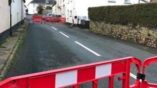 Road closed through Crockernwell