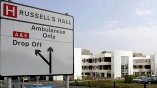 Sign in front of Russells Hall Hospital
