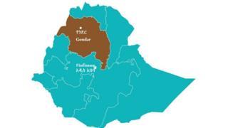 Kaartaa Naannoo Amaaraa fi Gondar agarsiisu