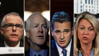 From left to right: Acting FBI Director Andrew McCabe, Republican Senator John Cornyn, New York Appeals Court Judge Michael Garcia and lawyer Alice Fisher