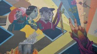 """A mural designed by the """"Lidera la Vida"""" campaign is unveiled in in Bogota on 31 January, 2020."""