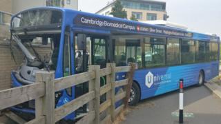 Crashed bus on Cambridgeshire guided busway.