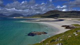 Taken on Friday 21 June by Donald Mackinnon from North Tolsta after recent heavy rain created a new river running through the sands at Luskentyre on the Isle of Harris