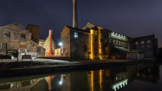"""A photo of a pottery works at the side of a canal titled """"Middleport Pottery with the Weeping Willows"""" - voted first in Preliminary Open Projected"""