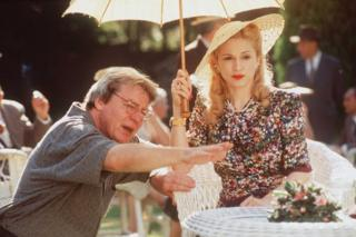 Madonna and Director Alan Parker on the set of Evita