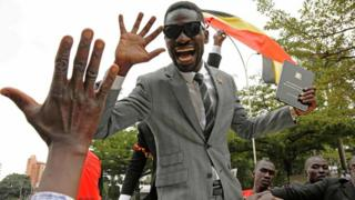 Bobi Wine greets supporters
