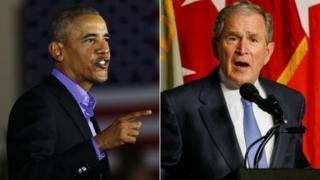 Barack Obama iyo George W Bush midkoodna ma soo qaadin magaca Trump