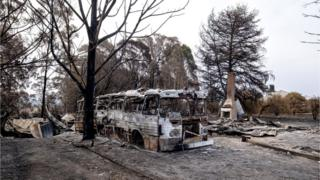 A burnt-out bus in Clifton Creek