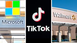 Composite of Walmart, Microsoft and Tik Tok logos