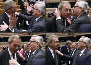 United Kingdom Independence Party (UKIP) leader Nigel Farage (left) reacting as he meets with European Union (EU) Commission President Jean-Claude Juncker ahead of a plenary session at the EU headquarters in Brussels