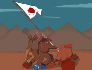 Grupa rođaka podiže zastavu od krvavog čaršava