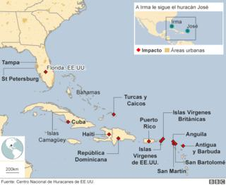 Zonas más afectadas por el paso del huracán Irma