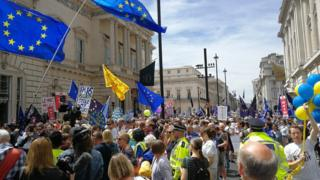 The rally started in Pall Mall, central London, before moving to Parliament Square