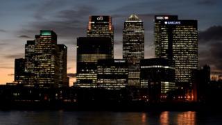 Canary Wharf at dusk