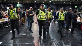 Police at the Glasgow count at the SECC