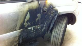 Jeep damaged by fire