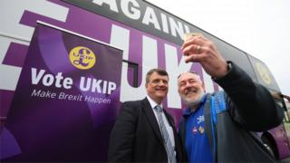 "Ukip leader Gerard Batten has a selfie taken with a supporter at Ukip""s EU election campaign and manifesto launch at the Dorman Museum in Middlesbrough"