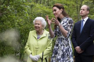 The Queen with the Duke and Duchess of Cambridge at Chelsea Flower Show