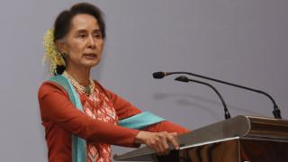 Invest Myanmar Summit 2019 ပွဲမှာ အဖွင့်မိန့်ခွန်းပြောကြားနေတဲ့ နိုင်ငံတော်အတိုင်ပင်ခံပုဂ္ဂိုလ်