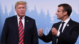 US President Donald Trump and French President Emmanuel Macron at the G7 Summit in La Malbaie, Canada, 8 June 2018