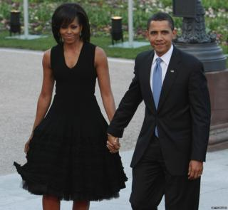 Former US President Barack Obama and Former First Lady Michelle Obama arrive at the opening of the Nato summit at the Kurhaus in Germany, 3 April 2009